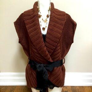 Rust Shawl Collar Wrap Vest
